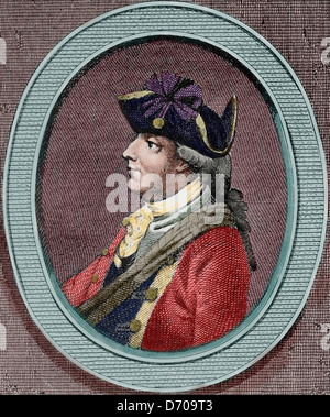 Henry Clinton (1730-1795). British military and politician. Engraving in American Revolution. Colored. - Stock Photo