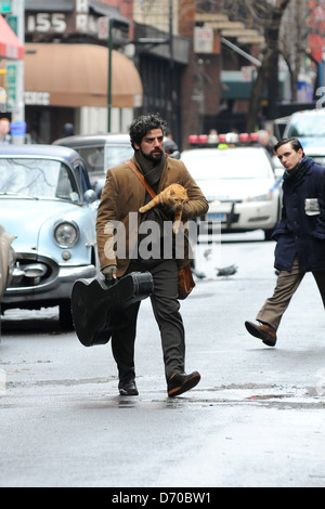 Oscar Isaac on the set of 'Inside Llewyn Davis' filming on location in Manhatan New York, USA - 01.03.12 - Stock Photo