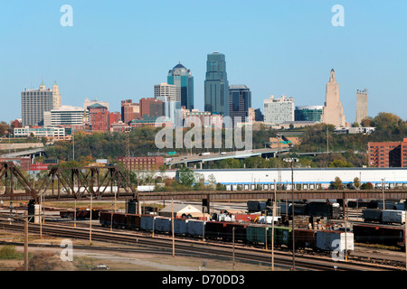 USA, Missouri, Kansas City, Downtown with West Bottoms industrial District in foreground - Stock Photo