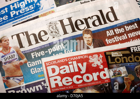 scottish daily newspapers the herald and daily record - Stock Photo