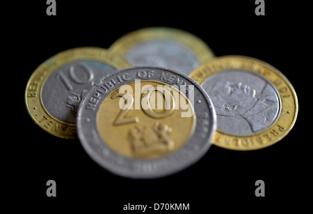 A selection of Kenyan shilling coins. The currency of Kenya. - Stock Photo