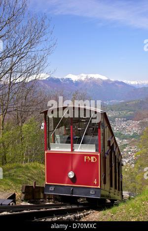Switzerland, Lugano, Ticino, View of Monte Bre Funicular - Stock Photo
