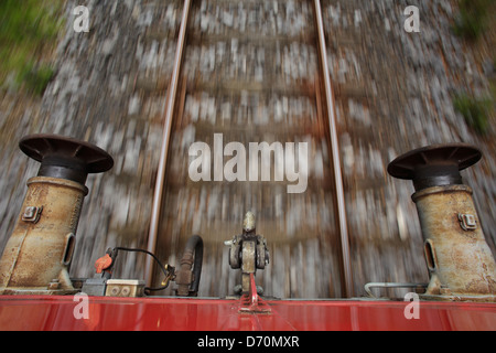 France, and coupling buffer at the end of a moving railway train - Stock Photo