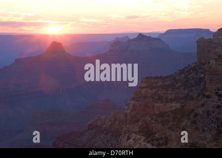 USA, Arizona, Grand Canyon National Park, North Rim, Sunset from Cape Royal - Stock Photo