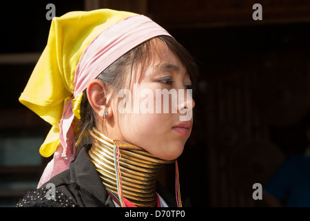 Young woman with long neck from the Padaung tribe, Ywama village, Inle Lake, Shan State, Myanmar, (Burma) - Stock Photo