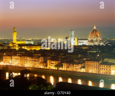 Overview of Florence at dusk from Piazzale Michelangelo, Florence, Tuscany, Italy - Stock Photo