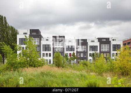 Berlin, Germany, newly built townhouses, Plot area previously free - Stock Photo