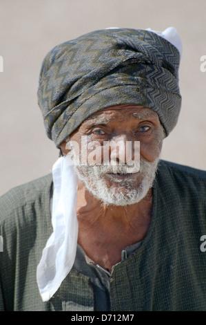 portrait of an elderly Bedouin, Luxor, Egypt, Africa  - Stock Photo