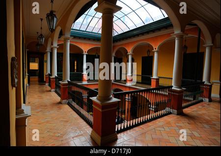 Inner Courtyard Of Hotel De La Opera In La Candelaria, The Old Town Of Bogota, Colombia - Stock Photo
