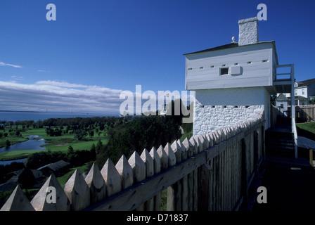USA, Michigan, Lake Huron, Mackinac Island, Fort Mackinac, Wall, West Blockhouse, 1798 - Stock Photo