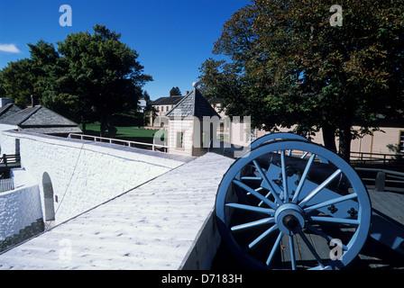 USA, Michigan, Lake Huron, Mackinac Island, Fort Mackinac, Cannon - Stock Photo