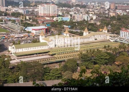 Yangon Central Railway Station, taken from Sakura Tower, Yangon, (Rangoon), Myanmar, (Burma) - Stock Photo