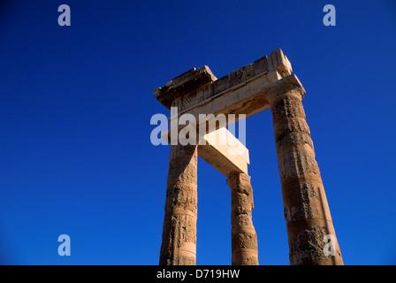 Greece, Rhodes, Lindos, Acropolis, Eastern Part Of The Doric Stoa - Stock Photo