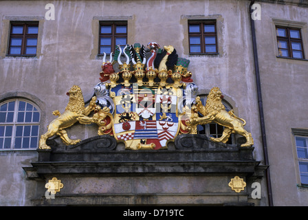 Germany, Torgau, Hartenfels Castle, Coat Of Arms - Stock Photo