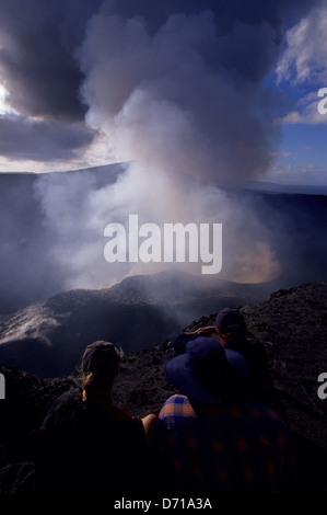 Vanuatu, Tanna Island, Mt. Yasur Volcano, Crater Rim, Tourists - Stock Photo