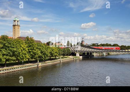Berlin, Germany, Rathaus Spandau, St. Nicholas Church and the Havel River in Berlin-Spandau - Stock Photo