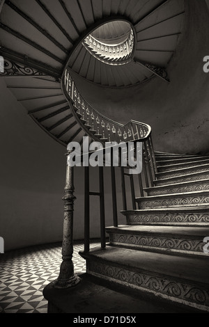 The mysterious spiral staircase - Stock Photo