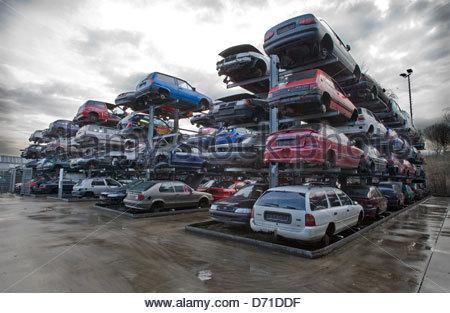 Cars in a junkyard - Stock Photo
