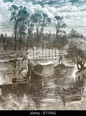 Historic drawing, royal cruise, Hampton Court Palace, London, 19th Century, London, England, United Kingdom, Europe - Stock Photo