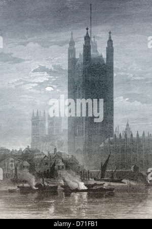 Historic drawing, Victoria Tower, Palace of Westminster, Houses of Parliament, London, 19th Century, London, United - Stock Photo