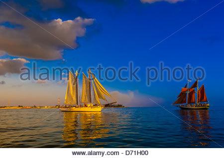 Schooner Western Union and the Jolly Rover II sailing off Key West, Florida Keys, Florida USA - Stock Photo