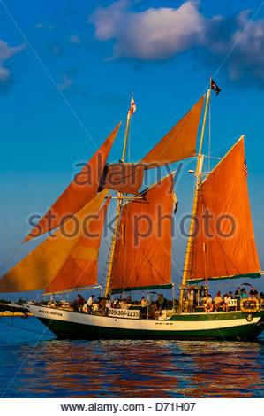Jolly Rover II sailing off Key West, Florida Keys, Florida USA - Stock Photo