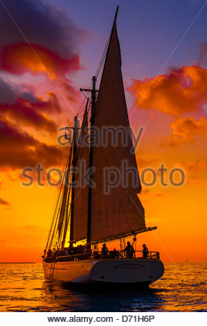 The schooner Western Union at sunset, off Key West, Florida Keys, Florida USA - Stock Photo