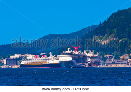 Cruise ships Disney Wonder, Carnival Spririt and Holland America 'Amsterdam' docked in Ketchikan, Southeast Alaska - Stock Photo