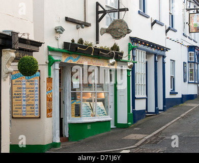 Appledore, North Devon, England. A Fish and Chip shop with interesting shop sign. - Stock Photo