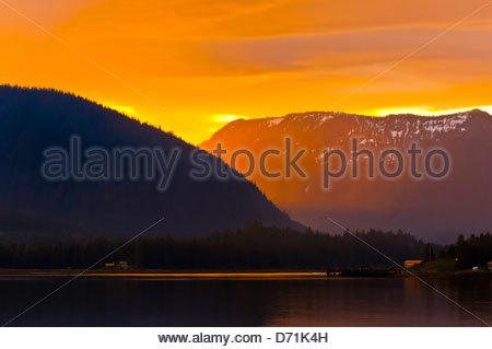 Sunset on the Wrangell Narrows, Inside Passage, near Petersburg, southeast Alaska USA - Stock Photo