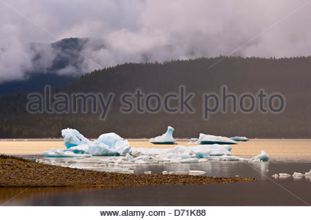 Mendenhall Lake (next to Mendenhall Glacier), Juneau, southeast Alaska USA - Stock Photo