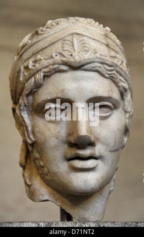 Ares, the god of war. Roman equivalent : Mars. Head of a statue of Ares. Roman sculpture after original of about - Stock Photo