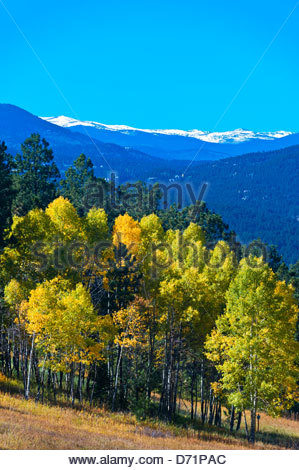 The Front Range of the Rocky Mountains west of Denver Colorado USA - Stock Photo