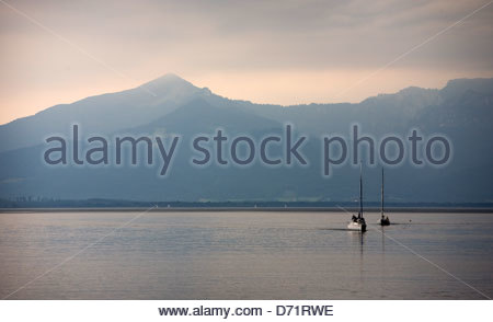 Sailboats in a lake, Chiemsee, Bavaria, Germany - Stock Photo