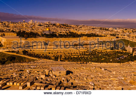Gravestones (150,000 graves), Jewish Cemetery on the Mount of Olives, with the Dome of the Rock on the Temple Mount - Stock Photo