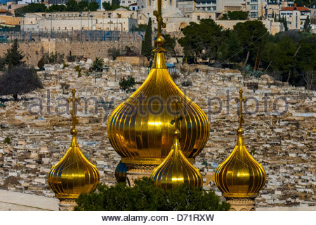 Russian Orthodox Church of Maria Magdelene, Mount of Olives, Jerusalem, Israel. - Stock Photo
