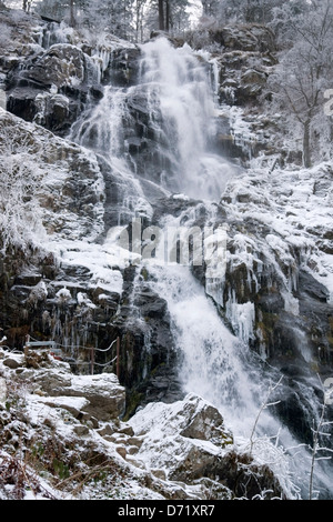 detail of a waterfall near Todtnau, a town in the Black Forest in Germany at winter time - Stock Photo