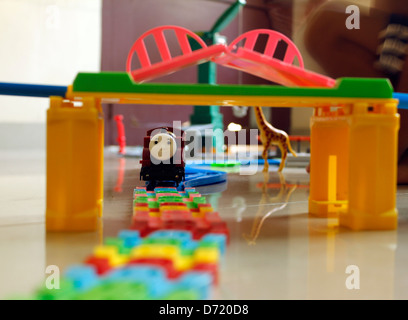 toy train and railway track - Stock Photo