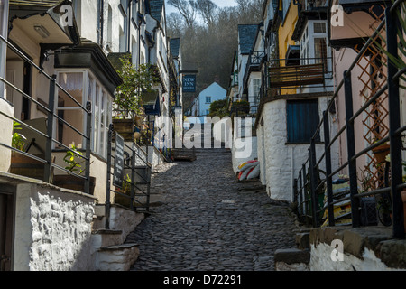 Clovelly,North Devon,England. The main street of Clovelly is very narrow and steep leading down to the harbour and - Stock Photo