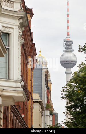 Berlin, Germany, old buildings, and New Synagogue Berlin TV Tower - Stock Photo
