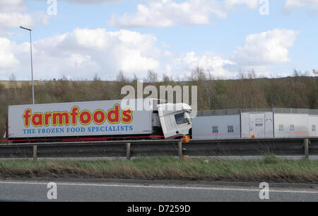 West Yorkshire, UK. 26th April 2013. Junction 32 of the M62 near Pontefract is the scene of a fatal road accident - Stock Photo