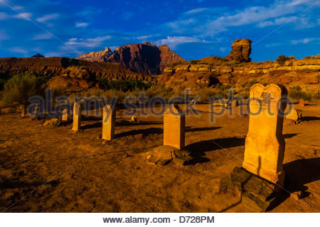 Cemetery in the ghost town of Grafton (settled by Mormon in 1847, the people of the town were killed in January - Stock Photo