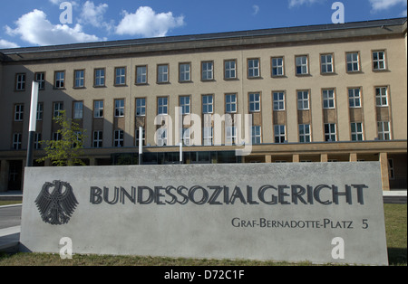 Kassel, Germany, shield and buildings of the Federal Social Court - Stock Photo