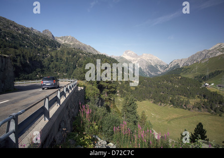 Preda, Switzerland, view from the Albula Pass road in the Albula valley wooded Noerdliche - Stock Photo