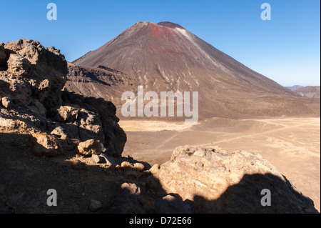 Mount Ngauruhoe, a stratovolcano and the film location for Mount Doom in Lord of the Rings, seen from the Tongariro - Stock Photo