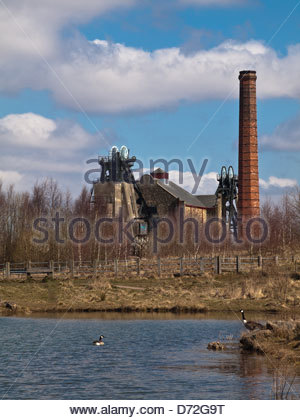 Pleasley Colliery was built in 1870 and produced coal untill 1983. Located on the Nottinghamshire/Derbyshire border - Stock Photo