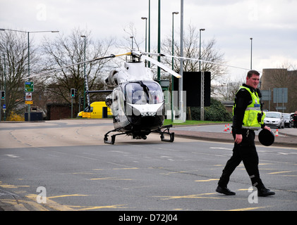 Maidstone, Kent, England, UK. Kent air ambulance on the A229 during a medical emergency in the town centre, April - Stock Photo