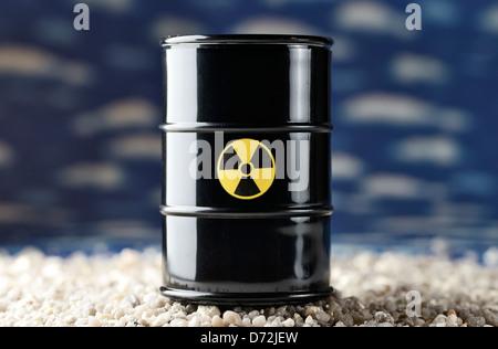 Radioactive barrel - Stock Photo