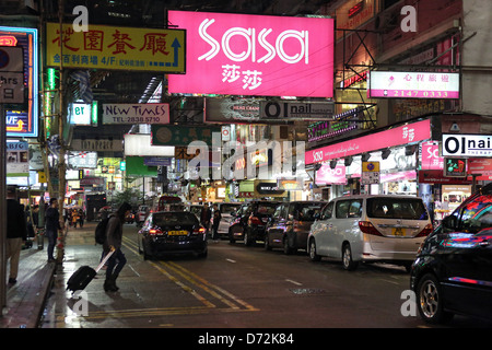 Hong Kong, China, Street Scene in the district of Causeway Bay at night - Stock Photo