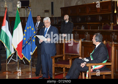 April 27, 2013 - Naples, Naples, Italy - Palestinian President Mahmoud Abbas (Abu Mazen) receives Medal of Honor - Stock Photo